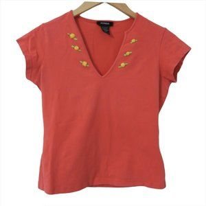 Express Pink Embroidered Flowers Short Sleeve Top